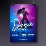 Diseño del aviador del partido del día de la danza con tango de baile de los pares en fondo colorido brillante Cartel de la cel stock de ilustración