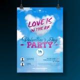 Diseño del aviador del partido del día de tarjetas del día de San Valentín con tipografía y corazón de la nube en fondo azul El a libre illustration