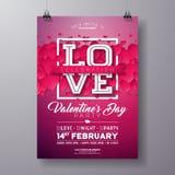 Diseño del aviador del partido del día de tarjetas del día de San Valentín del vector con la letra de la tipografía del amor y co ilustración del vector