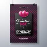 Diseño del aviador del partido del día de tarjetas del día de San Valentín del vector con tipografía en fondo rojo del modelo del stock de ilustración
