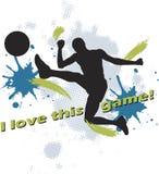 Diseño del balompié de hombre que golpea el balón de fútbol con el pie Fotos de archivo libres de regalías