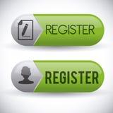 Diseño del botón del registro Foto de archivo libre de regalías