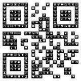 Diseño del código de QR con los iconos sociales de los media fijados ilustración del vector