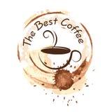 Diseño del café sobre el ejemplo del vector del fondo Imágenes de archivo libres de regalías