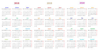 diseño 2018-2019-2020 del calendario de 12 meses stock de ilustración