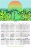 diseño 2018 del calendario de 12 meses stock de ilustración
