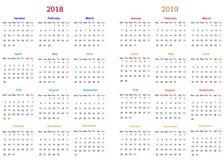 diseño 2018-2019 del calendario de 12 meses ilustración del vector
