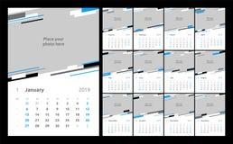 Diseño del calendario para 2019 Fije de plantilla de la impresión del diseño del vector de 12 páginas del calendario con el lugar