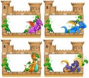 Diseño del capítulo con el dragón y el castillo ilustración del vector