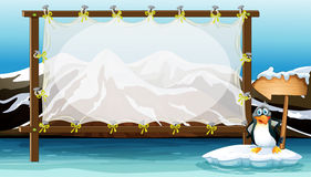 Diseño del capítulo con el pingüino en el iceberg ilustración del vector