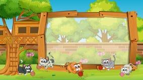 Diseño del capítulo con los gatos en jardín stock de ilustración
