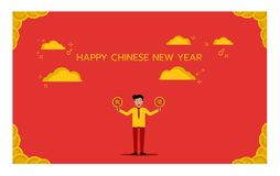 Diseño del cartel del Año Nuevo de China Fotografía de archivo libre de regalías