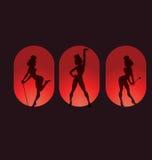Diseño del cartel con el burlesque del cabaret de la silueta Imagen de archivo libre de regalías