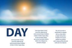 Diseño del cartel del día soleado Bandera con el sol, las nubes y el texto Ilustración del vector libre illustration