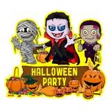 Diseño del cartel de Halloween con el vampiro del vector, zombi, carácter de la momia Foto de archivo libre de regalías