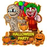 Diseño del cartel de Halloween con los caracteres de la momia y del payaso del vector ilustración del vector