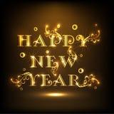 Diseño 2015 del cartel de la celebración de la Feliz Año Nuevo con el texto brillante Imagenes de archivo