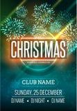 Diseño del cartel de la fiesta de Navidad con la luz de los fuegos artificiales Plantilla del aviador del disco del Año Nuevo Foto de archivo