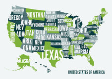 Diseño del cartel de la impresión del mapa de los Estados Unidos de América Imagenes de archivo