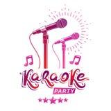 Diseño del cartel de la promoción del partido del Karaoke compuesto usando notas musicales y 5 estrellas pentagonales Concepto de stock de ilustración