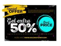 Diseño del cartel de la venta Etiqueta de la oferta especial y la mejor etiqueta de precio en fondo negro con textura y Memphis P Foto de archivo libre de regalías