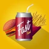 Diseño del cartel de los alimentos de preparación rápida Imagen de archivo libre de regalías