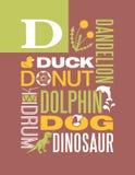 Diseño del cartel del alfabeto del ejemplo de la tipografía de las palabras de la letra D Foto de archivo libre de regalías