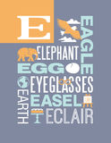 Diseño del cartel del alfabeto del ejemplo de la tipografía de las palabras de la letra E Imagenes de archivo