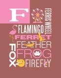 Diseño del cartel del alfabeto del ejemplo de la tipografía de las palabras de la letra F Foto de archivo