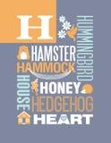 Diseño del cartel del alfabeto del ejemplo de la tipografía de las palabras de la letra H Fotos de archivo libres de regalías
