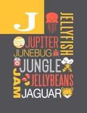 Diseño del cartel del alfabeto del ejemplo de la tipografía de las palabras de la letra J Foto de archivo
