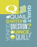 Diseño del cartel del alfabeto del ejemplo de la tipografía de las palabras de la letra Q Foto de archivo libre de regalías