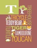 Diseño del cartel del alfabeto del ejemplo de la tipografía de las palabras de la letra T Foto de archivo libre de regalías