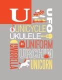 Diseño del cartel del alfabeto del ejemplo de la tipografía de las palabras de la letra U Fotografía de archivo