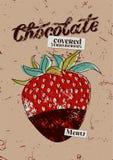 Diseño del cartel del chocolate del vintage Cubierta del menú del postre Imagen de archivo libre de regalías