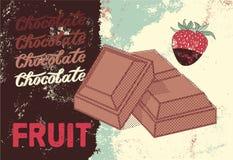 Diseño del cartel del chocolate del vintage Cubierta del menú del postre Fotografía de archivo