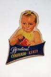 Diseño del cartel del chocolate del vintage exhibido en el chocolate justo en Zagreb foto de archivo libre de regalías