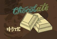 Diseño del cartel del chocolate del vintage Pedazos blancos del chocolate Ilustración del vector Imagen de archivo libre de regalías