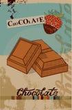 Diseño del cartel del chocolate del vintage Pedazos del chocolate Ilustración del vector Imágenes de archivo libres de regalías