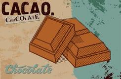 Diseño del cartel del chocolate del vintage Pedazos del chocolate Ilustración del vector Imagen de archivo libre de regalías