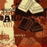 Diseño del cartel del chocolate del vintage Tres clases de chocolate: blanco, oscuridad y leche Ilustración del vector Imágenes de archivo libres de regalías