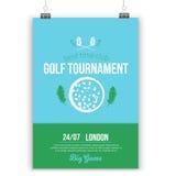 Diseño del cartel del golf del vector con los elementos planos Plantilla para el aviador del deporte, competencia Fotografía de archivo libre de regalías