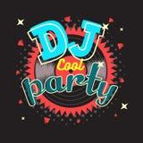 Diseño del cartel del partido de DJ con el ejemplo del disco de vinilo libre illustration