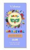 Diseño del cartel del partido del carnaval Plantilla del aviador o de la invitación Ejemplo del vector del boleto del Funfair ilustración del vector