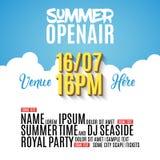 Diseño del cartel del partido del festival del aire abierto Plantilla del aviador o del folleto para el verano con los globos de  stock de ilustración