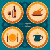 Diseño del cartel del restaurante con los iconos de la comida y de la bebida Foto de archivo