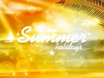 Diseño del cartel del verano con tipografía Foto de archivo