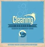 Diseño del cartel del vintage para el servicio de limpieza Fotografía de archivo