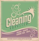 Diseño del cartel del vintage para el servicio de limpieza Imagen de archivo libre de regalías