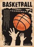 Diseño del cartel del grunge del baloncesto de la calle ilustración del vector